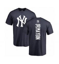 Baseball New York Yankees #38 Cameron Maybin Navy Blue Backer T-Shirt
