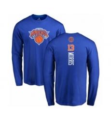 Basketball New York Knicks #13 Marcus Morris Royal Blue Backer Long Sleeve T-Shirt