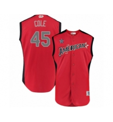 Men's Houston Astros #45 Gerrit Cole Authentic Red American League 2019 Baseball All-Star Jersey