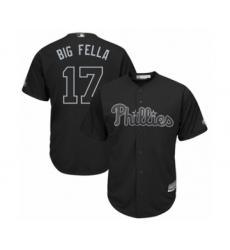 Men's Philadelphia Phillies #17 Rhys Hoskins  Big Fella Authentic Black 2019 Players Weekend Baseball Jersey