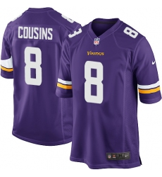 Men's Nike Minnesota Vikings #8 Kirk Cousins Game Purple Team Color NFL Jersey