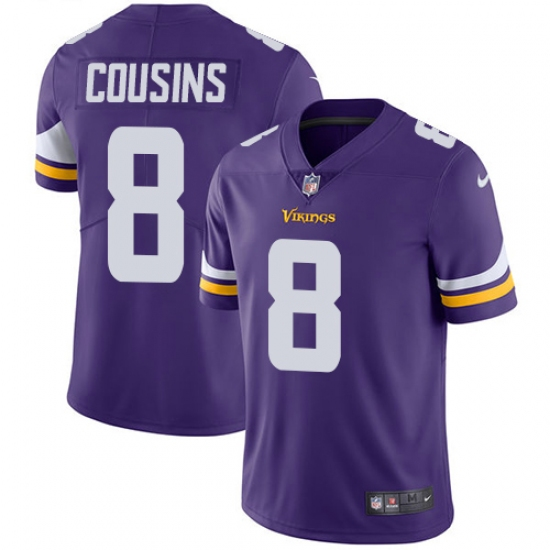 Men's Nike Minnesota Vikings #8 Kirk Cousins Purple Team Color Vapor Untouchable Limited Player NFL Jersey