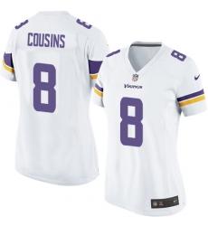 Women's Nike Minnesota Vikings #8 Kirk Cousins Game White NFL Jersey