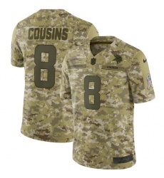 Youth Nike Minnesota Vikings #8 Kirk Cousins Limited Camo 2018 Salute to Service NFL Jersey