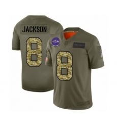 Men's Baltimore Ravens #8 Lamar Jackson 2019 Olive Camo Salute to Service Limited Jersey