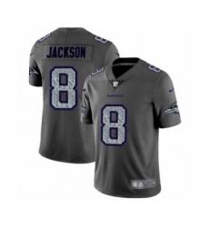 Men's Baltimore Ravens #8 Lamar Jackson Limited Gray Static Fashion Limited Football Jersey