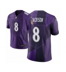 Women's Baltimore Ravens #8 Lamar Jackson Limited Purple City Edition Football Jersey