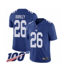 Men's New York Giants #26 Saquon Barkley Royal Blue Team Color Vapor Untouchable Limited Player 100th Season Football Jersey
