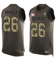 Men's Nike New York Giants #26 Saquon Barkley Limited Green Salute to Service Tank Top NFL Jersey