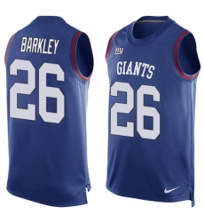 Men's Nike New York Giants #26 Saquon Barkley Limited Royal Blue Player Name & Number Tank Top NFL Jersey