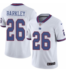 Men's Nike New York Giants #26 Saquon Barkley Limited White Rush Vapor Untouchable NFL Jersey