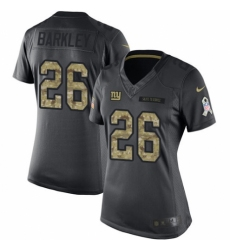 Women's Nike New York Giants #26 Saquon Barkley Limited Black 2016 Salute to Service NFL Jersey