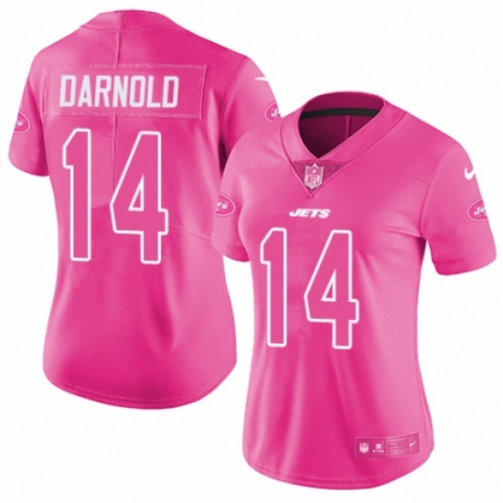 Women s Nike New York Jets  14 Sam Darnold Limited Pink Rush Fashion NFL  Jersey 1cde3029c