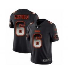 Men Cleveland Browns #6 Baker Mayfield Black Smoke Fashion Limited Jersey