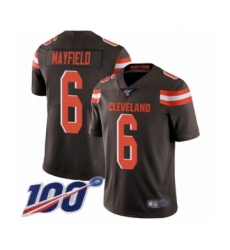 Men's Cleveland Browns #6 Baker Mayfield Brown Team Color 100th Season Vapor Untouchable Limited Player Football Jersey