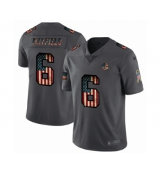 Men's Cleveland Browns #6 Baker Mayfield Limited Black USA Flag 2019 Salute To Service Football Jersey