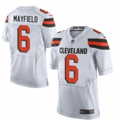 Men's Nike Cleveland Browns #6 Baker Mayfield Elite White NFL Jersey