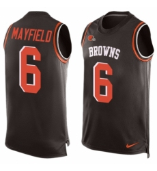 Men's Nike Cleveland Browns #6 Baker Mayfield Limited Brown Player Name & Number Tank Top NFL Jersey