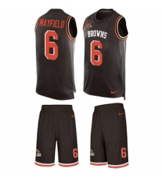 Men's Nike Cleveland Browns #6 Baker Mayfield Limited Brown Tank Top Suit NFL Jersey