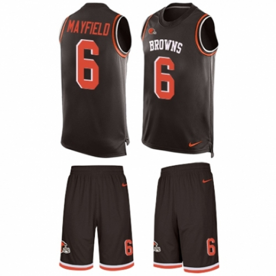 5146799b66c Men's Nike Cleveland Browns #6 Baker Mayfield Limited Brown Tank Top Suit NFL  Jersey