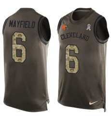 Men's Nike Cleveland Browns #6 Baker Mayfield Limited Green Salute to Service Tank Top NFL Jersey
