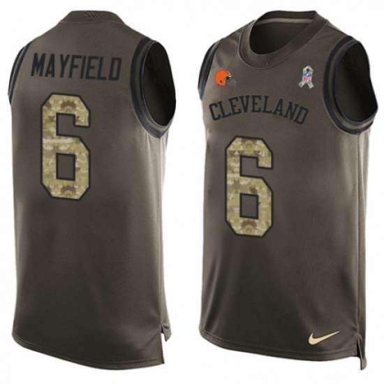 72ca0801e93e Men s Nike Cleveland Browns  6 Baker Mayfield Limited Green Salute to  Service Tank Top NFL