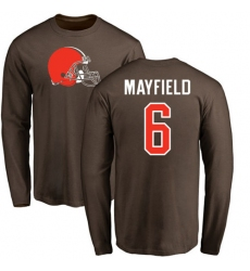NFL Nike Cleveland Browns #6 Baker Mayfield Brown Name & Number Logo Long Sleeve T-Shirt