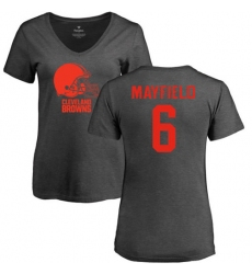 NFL Women's Nike Cleveland Browns #6 Baker Mayfield Ash One Color T-Shirt