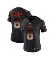 Women's Cleveland Browns #6 Baker Mayfield Limited Black Smoke Fashion Football Jersey
