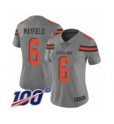Women's Cleveland Browns #6 Baker Mayfield Limited Gray 100th Season Inverted Legend Football Jersey