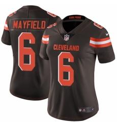 Women's Nike Cleveland Browns #6 Baker Mayfield Brown Team Color Vapor Untouchable Elite Player NFL Jersey