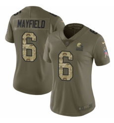 Women's Nike Cleveland Browns #6 Baker Mayfield Limited Olive Camo 2017 Salute to Service NFL Jersey
