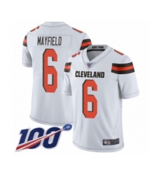 Youth Cleveland Browns #6 Baker Mayfield White 100th Season Vapor Untouchable Limited Player Football Jersey