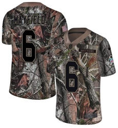 Youth Nike Cleveland Browns #6 Baker Mayfield Limited Camo Rush Realtree NFL Jersey