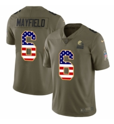 Youth Nike Cleveland Browns #6 Baker Mayfield Limited Olive USA Flag 2017 Salute to Service NFL Jersey