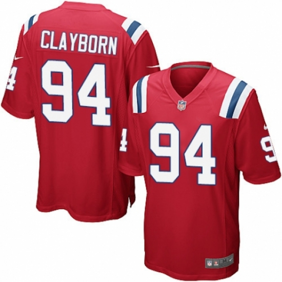 best website 64ef8 5f754 Men's Nike New England Patriots #94 Adrian Clayborn Game Red ...