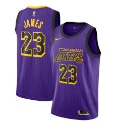 d4abd347f Men s Nike Los Angeles Lakers  23 LeBron James Swingman Purple stripe NBA  Jersey