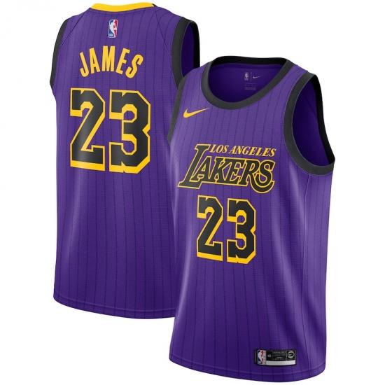 new style 1fae6 ccda1 Men's Nike Los Angeles Lakers #23 LeBron James Swingman ...