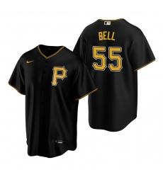 Men's Nike Pittsburgh Pirates #55 Josh Bell Black Alternate Stitched Baseball Jersey