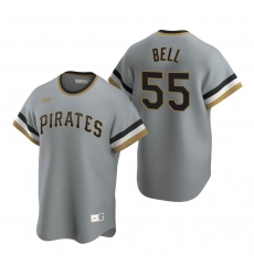 Men's Nike Pittsburgh Pirates #55 Josh Bell Gray Cooperstown Collection Road Stitched Baseball Jersey