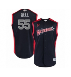 Youth Pittsburgh Pirates #55 Josh Bell Authentic Navy Blue National League 2019 Baseball All-Star Jersey