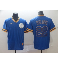 Men's Nike Milwaukee Brewers #22 Christian Yelich Blue Alternate Jersey