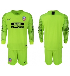 Atletico Madrid Blank Shiny Green Goalkeeper Long Sleeves Soccer Club Jersey3