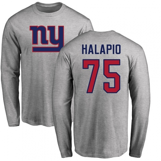 half off 91c52 17664 NFL Nike New York Giants #75 Jon Halapio Ash Name & Number ...