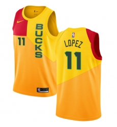 a5025a15209 Men's Nike Milwaukee Bucks #11 Brook Lopez Swingman Yellow NBA Jersey - City  Edition