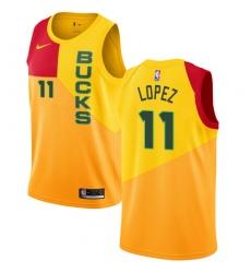 a5025a15209 Men's Nike Milwaukee Bucks #11 Brook Lopez Swingman Yellow NBA Jersey - City  Edition