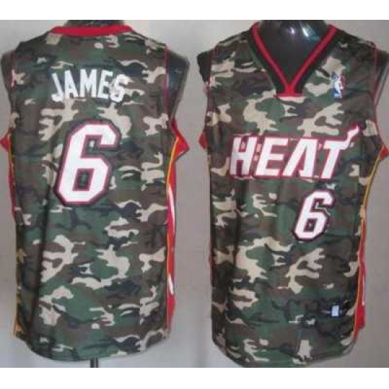 reputable site e63c1 307c5 Miami Heat 6 LeBron James Camo Revolution 30 Swingman NBA ...