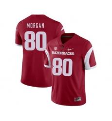 Arkansas Razorbacks 80 Drew Morgan Red College Football Jersey