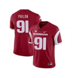 Arkansas Razorbacks 91 Darius Philon Red College Football Jersey