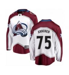 9e7b6435b Men s Colorado Avalanche  75 Justus Annunen Authentic White Away Fanatics  Branded Breakaway NHL Jersey